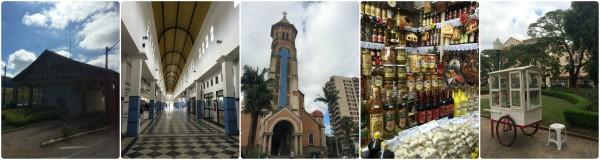 Portal da cidade, interior da rodoviária, Igreja Nossa Senhora da Saúde, lojinha típica e pipoca da praça